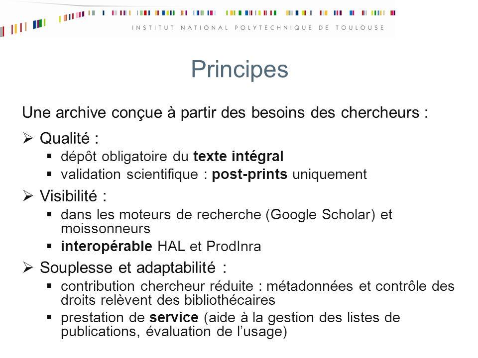 Principes Une archive conçue à partir des besoins des chercheurs : Qualité : dépôt obligatoire du texte intégral validation scientifique : post-prints