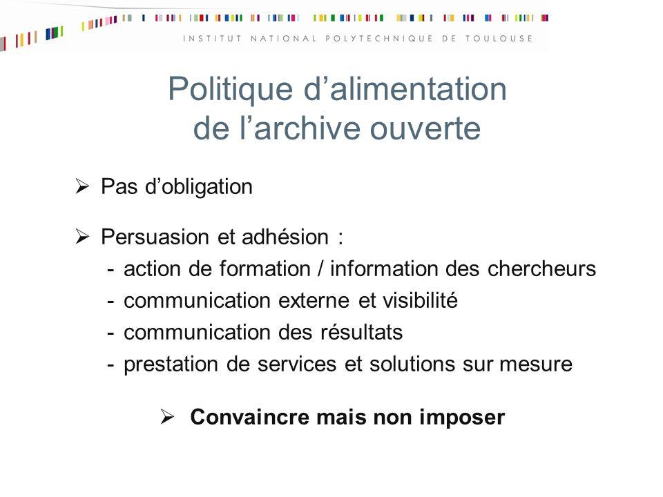 Politique dalimentation de larchive ouverte Pas dobligation Persuasion et adhésion : -action de formation / information des chercheurs -communication