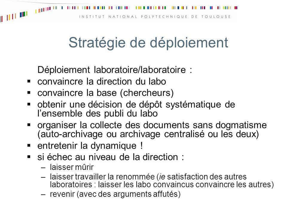 Stratégie de déploiement Déploiement laboratoire/laboratoire : convaincre la direction du labo convaincre la base (chercheurs) obtenir une décision de