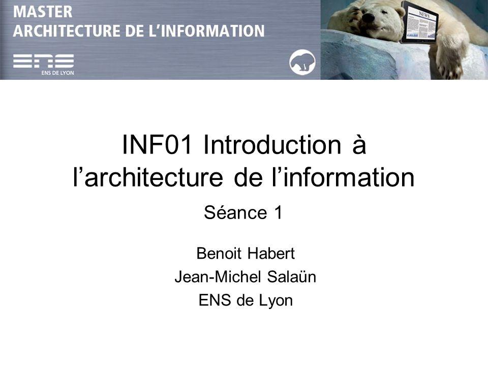 INF01-Intro : JM Salaün & B Habert Séance 112 Une nouvelle profession Positionnement Définition de Morville et Rosenfeld : 1.The structural design of shared information environments.
