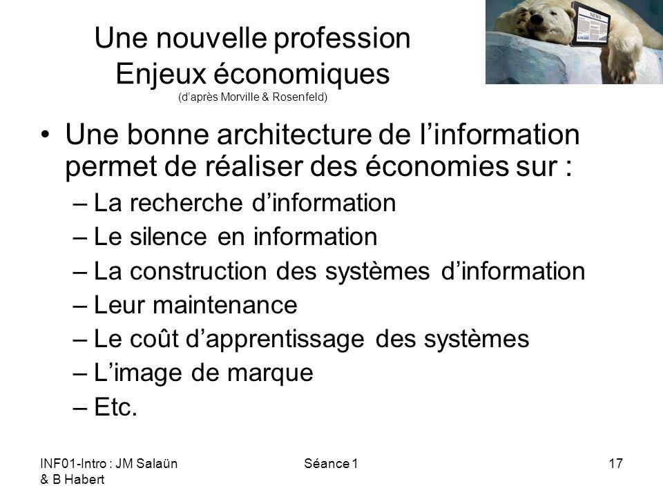 INF01-Intro : JM Salaün & B Habert Séance 117 Une nouvelle profession Enjeux économiques (daprès Morville & Rosenfeld) Une bonne architecture de linfo