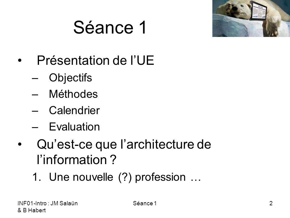 INF01-Intro : JM Salaün & B Habert Séance 12 Présentation de lUE –Objectifs –Méthodes –Calendrier –Evaluation Quest-ce que larchitecture de linformati
