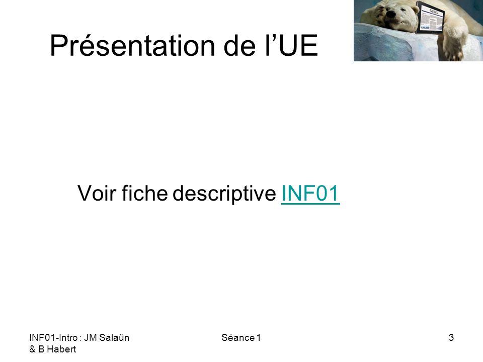 INF01-Intro : JM Salaün & B Habert Séance 114 Une nouvelle profession Positionnement Biblio : « Architecte de linformation | Portail des métiers de lInternet », http://www.metiers.internet.gouv.fr/metier/architecte-de- l%E2%80%99information.