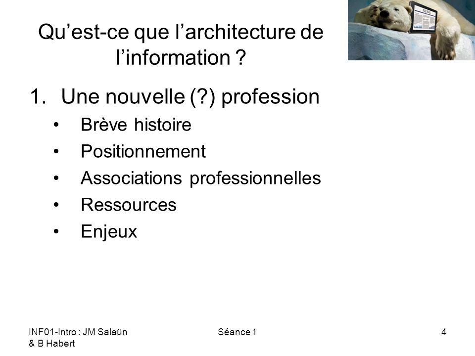 INF01-Intro : JM Salaün & B Habert Séance 14 Quest-ce que larchitecture de linformation ? 1.Une nouvelle (?) profession Brève histoire Positionnement