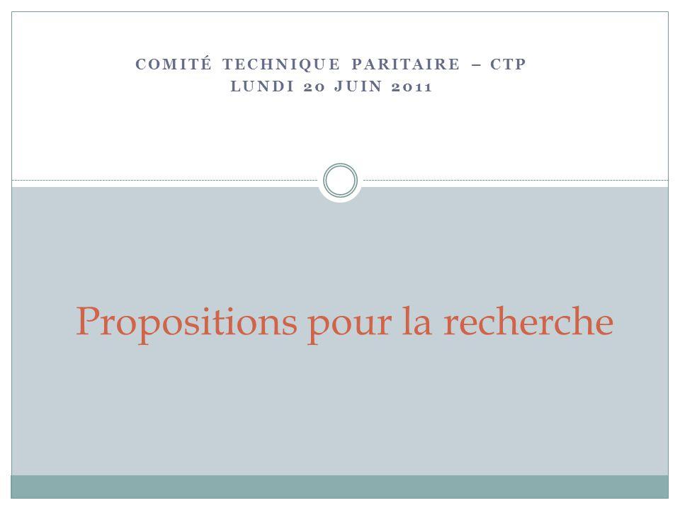 COMITÉ TECHNIQUE PARITAIRE – CTP LUNDI 20 JUIN 2011 Propositions pour la recherche