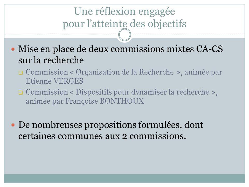Des propositions communes pour la recherche Une fiche annuelle de service des EC (ex.