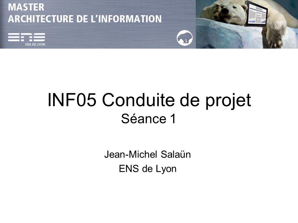 INF05-Projet : JM Salaün, JPh Magué & B Habert Séance 12 Conduite de projet Présentation de la démarche : –Qu est-ce qu un projet .