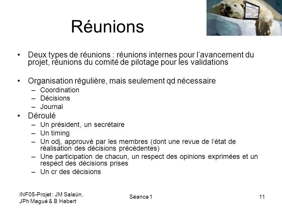 INF05-Projet : JM Salaün, JPh Magué & B Habert Séance 111 Réunions Deux types de réunions : réunions internes pour lavancement du projet, réunions du