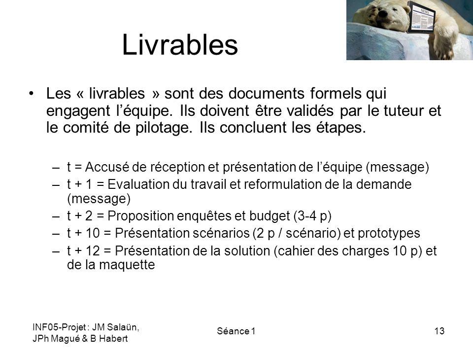 INF05-Projet : JM Salaün, JPh Magué & B Habert Séance 113 Livrables Les « livrables » sont des documents formels qui engagent léquipe. Ils doivent êtr