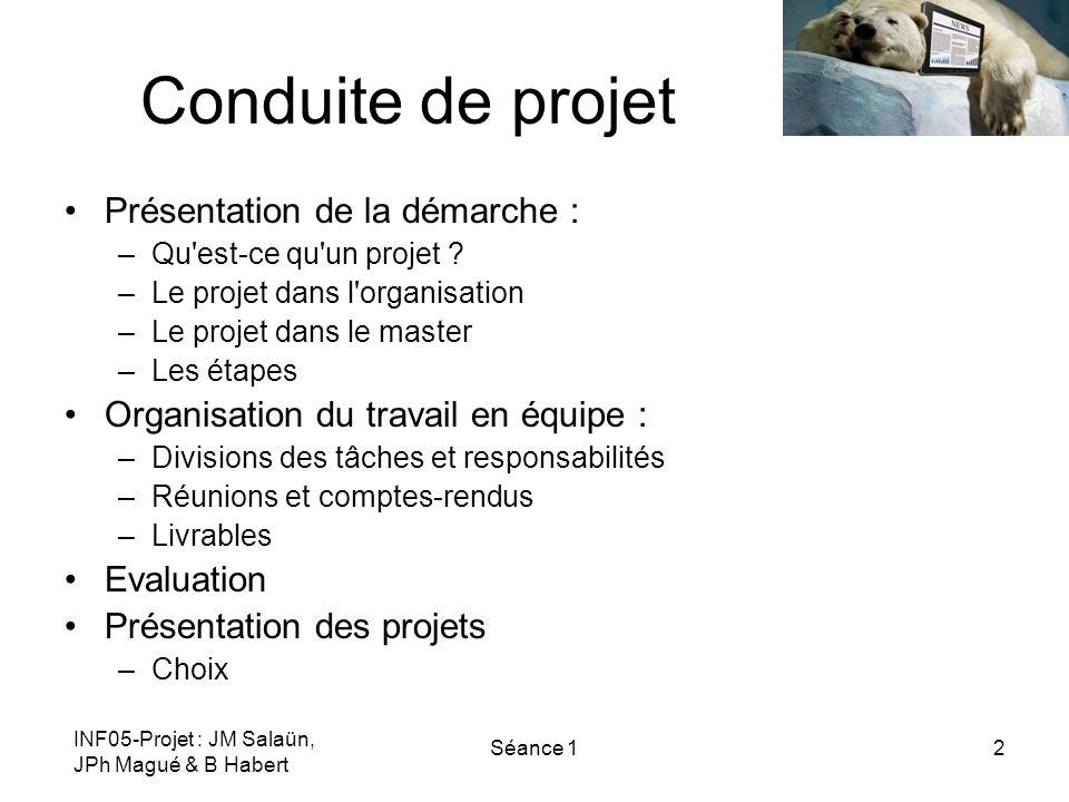 INF05-Projet : JM Salaün, JPh Magué & B Habert Séance 12 Conduite de projet Présentation de la démarche : –Qu'est-ce qu'un projet ? –Le projet dans l'