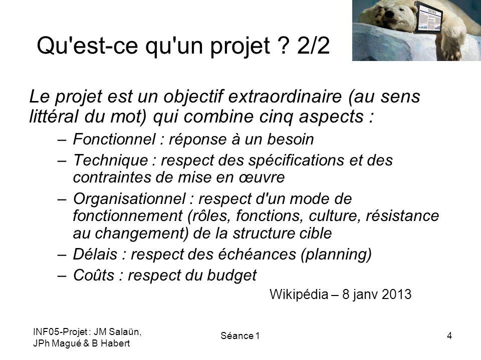 INF05-Projet : JM Salaün, JPh Magué & B Habert Séance 14 Qu'est-ce qu'un projet ? 2/2 Le projet est un objectif extraordinaire (au sens littéral du mo