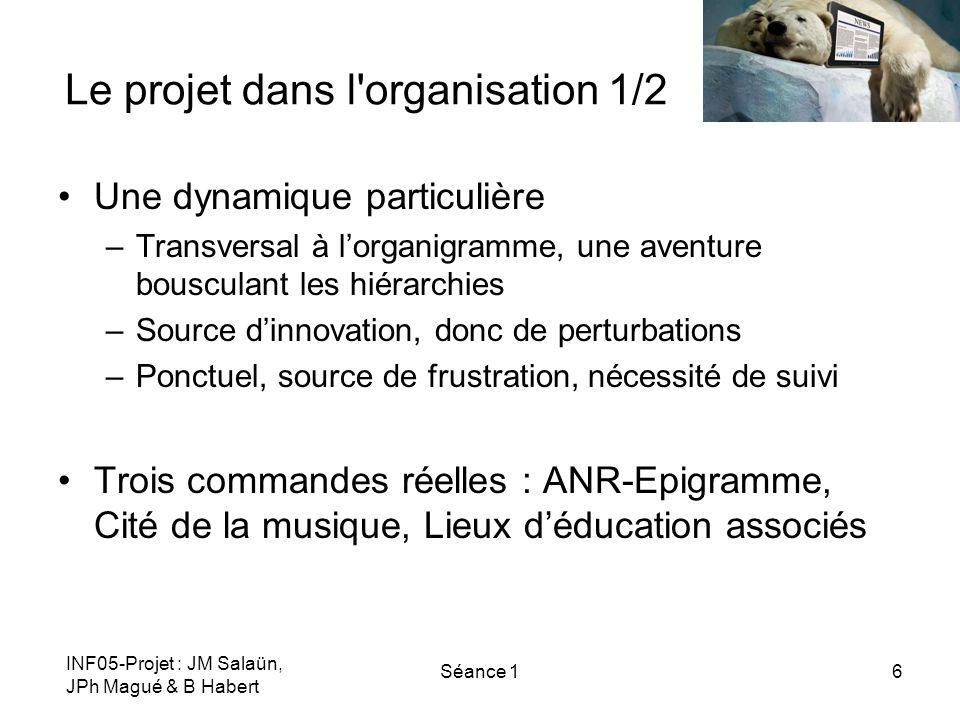 INF05-Projet : JM Salaün, JPh Magué & B Habert Séance 16 Le projet dans l'organisation 1/2 Une dynamique particulière –Transversal à lorganigramme, un
