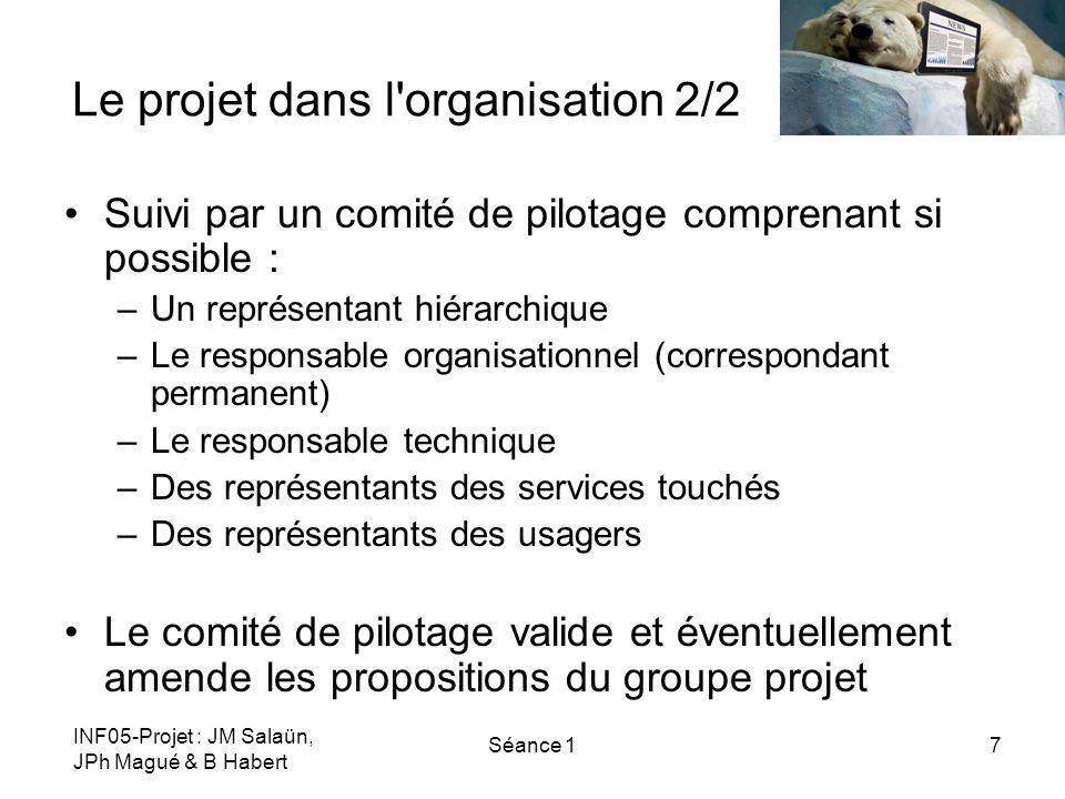 INF05-Projet : JM Salaün, JPh Magué & B Habert Séance 18 Le projet dans le master 1/2 Contraintes –Calendrier spécifique –Budget arbitraire –Réalisation partielle (seulement jusquà la maquette) Un groupe projet de 3-4 étudiants Un tuteur