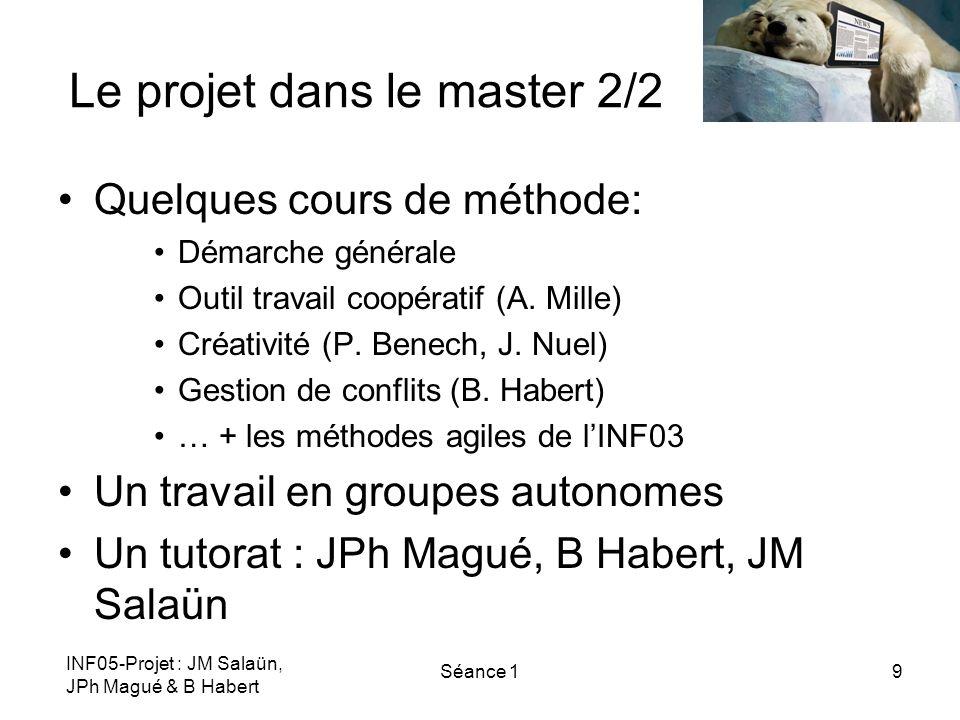 INF05-Projet : JM Salaün, JPh Magué & B Habert Séance 19 Le projet dans le master 2/2 Quelques cours de méthode: Démarche générale Outil travail coopé