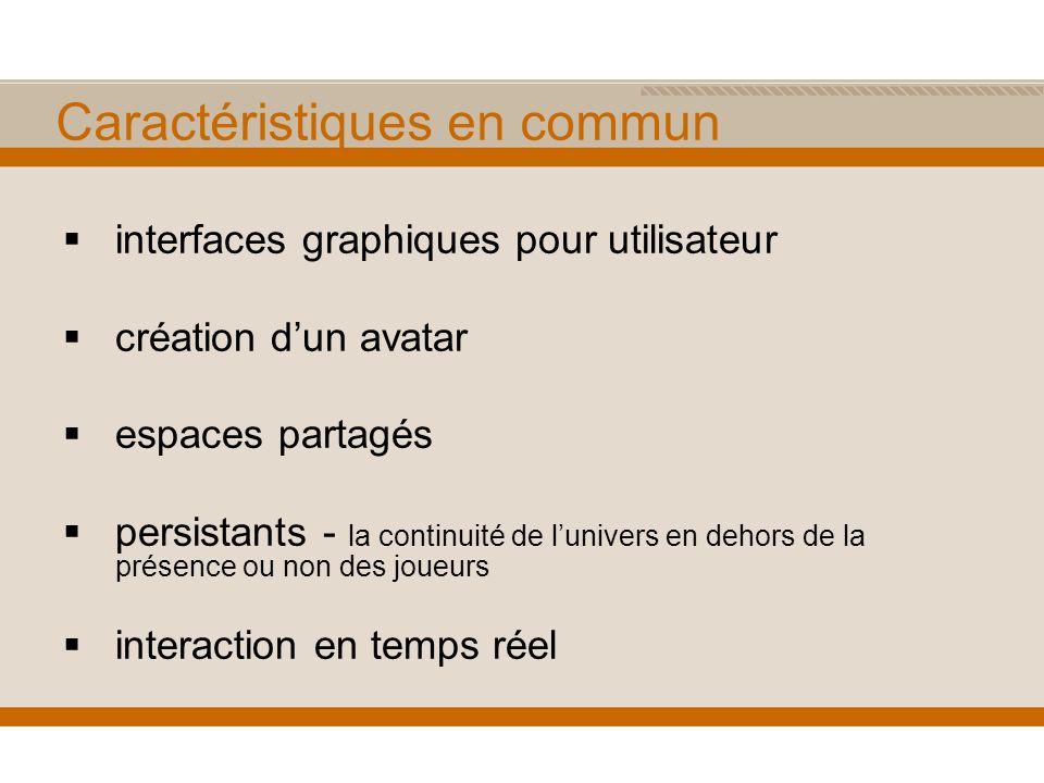 Caractéristiques en commun interfaces graphiques pour utilisateur création dun avatar espaces partagés persistants - la continuité de lunivers en dehors de la présence ou non des joueurs interaction en temps réel