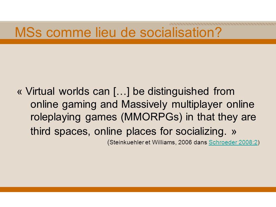 MSs comme lieu de socialisation.