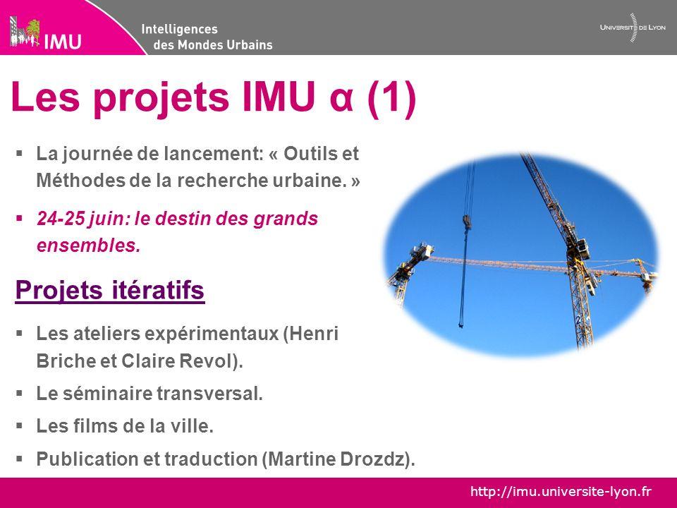 http://imu.universite-lyon.fr Les projets IMU α (2) Le blog Hypotheses imualpha.hypotheses.org/ Projets ponctuels Le colloque sur légalité des territoires, en partenariat avec la région Rhône-Alpes.