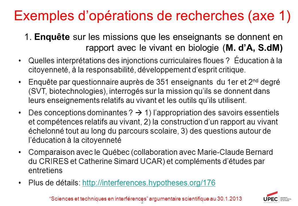 2 Opérations de recherches (axe 2) 2a.