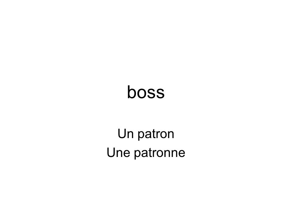 boss Un patron Une patronne