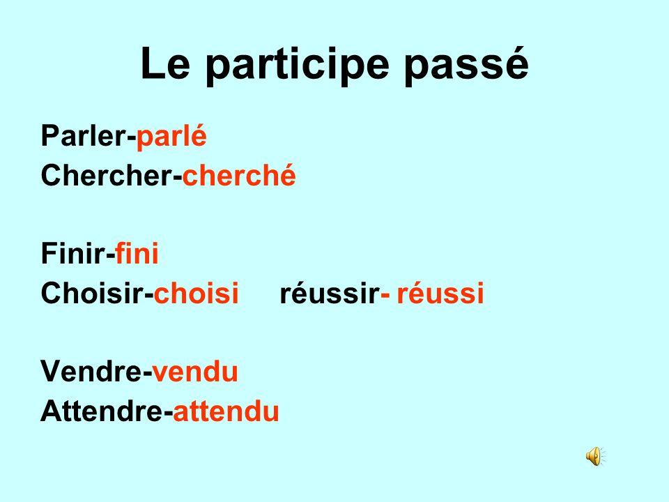 Le participe passé Parler-parlé Chercher-cherché Finir-fini Choisir-choisi réussir- réussi Vendre-vendu Attendre-attendu
