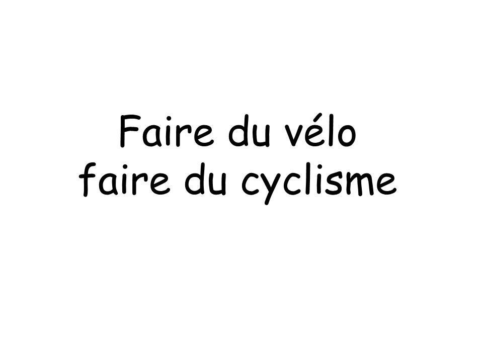 Faire du vélo faire du cyclisme