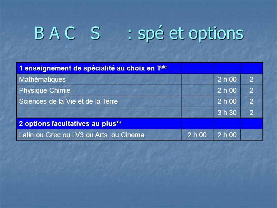 BAC S au L.Rochambeau Enseignements obligatoires communs1 ère T ale Cœf f.