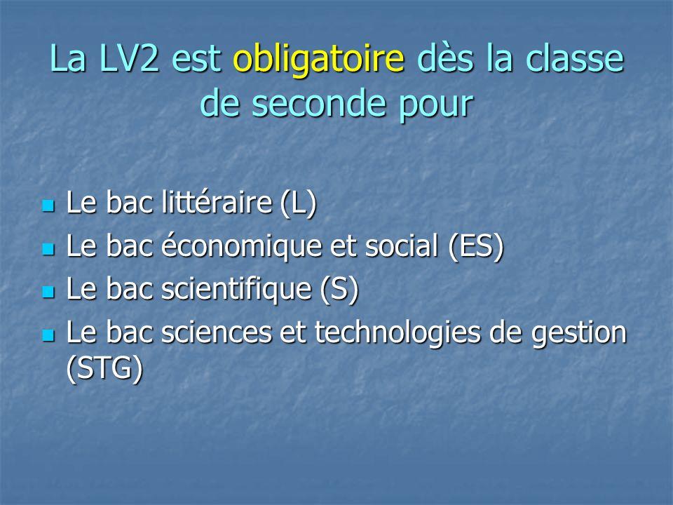 La LV2 est obligatoire dès la classe de seconde pour Le bac littéraire (L) Le bac littéraire (L) Le bac économique et social (ES) Le bac économique et social (ES) Le bac scientifique (S) Le bac scientifique (S) Le bac sciences et technologies de gestion (STG) Le bac sciences et technologies de gestion (STG)