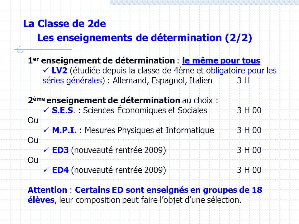 Les enseignements de détermination (2/2) le même pour tous 1 er enseignement de détermination : le même pour tous LV2 (étudiée depuis la classe de 4ème et obligatoire pour les séries générales) : Allemand, Espagnol, Italien 3 H 2 ème enseignement de détermination au choix : S.E.S.