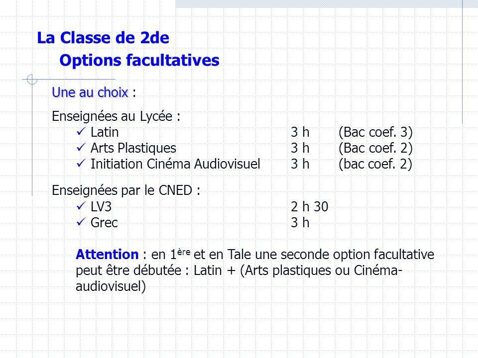 Options facultatives Une au choix Une au choix : Enseignées au Lycée : Latin3 h(Bac coef.