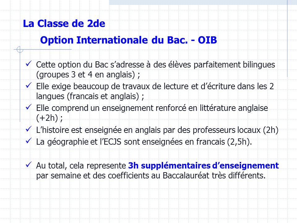 Options facultatives Une au choix Une au choix : Enseignées au Lycée : Latin3 h(Bac coef. 3) Arts Plastiques3 h (Bac coef. 2) Initiation Cinéma Audiov