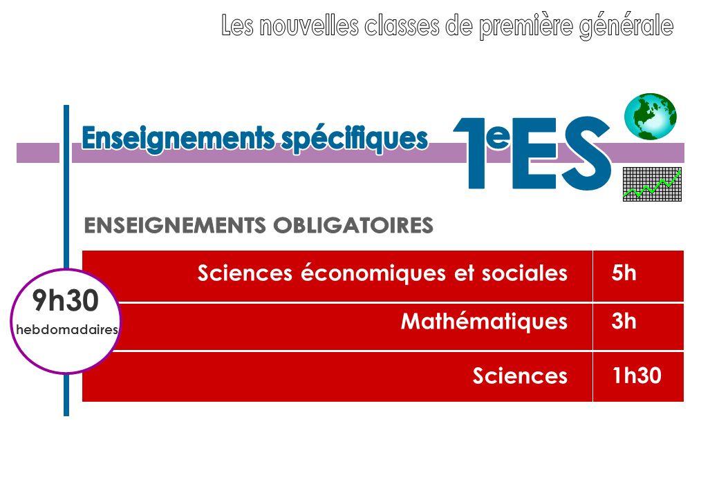 5h 3h 1h30 Sciences économiques et sociales Mathématiques Sciences 9h30 hebdomadaires