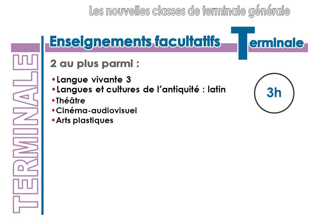 3h Langue vivante 3 Langues et cultures de l antiquité : latin Théâtre Cinéma-audiovisuel Arts plastiques