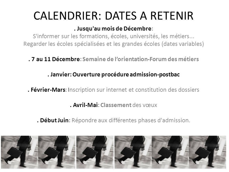 CALENDRIER: DATES A RETENIR.