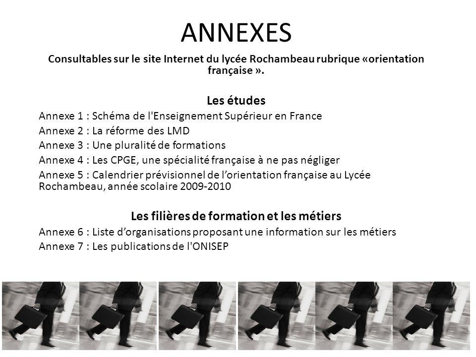 ANNEXES Consultables sur le site Internet du lycée Rochambeau rubrique «orientation française ».