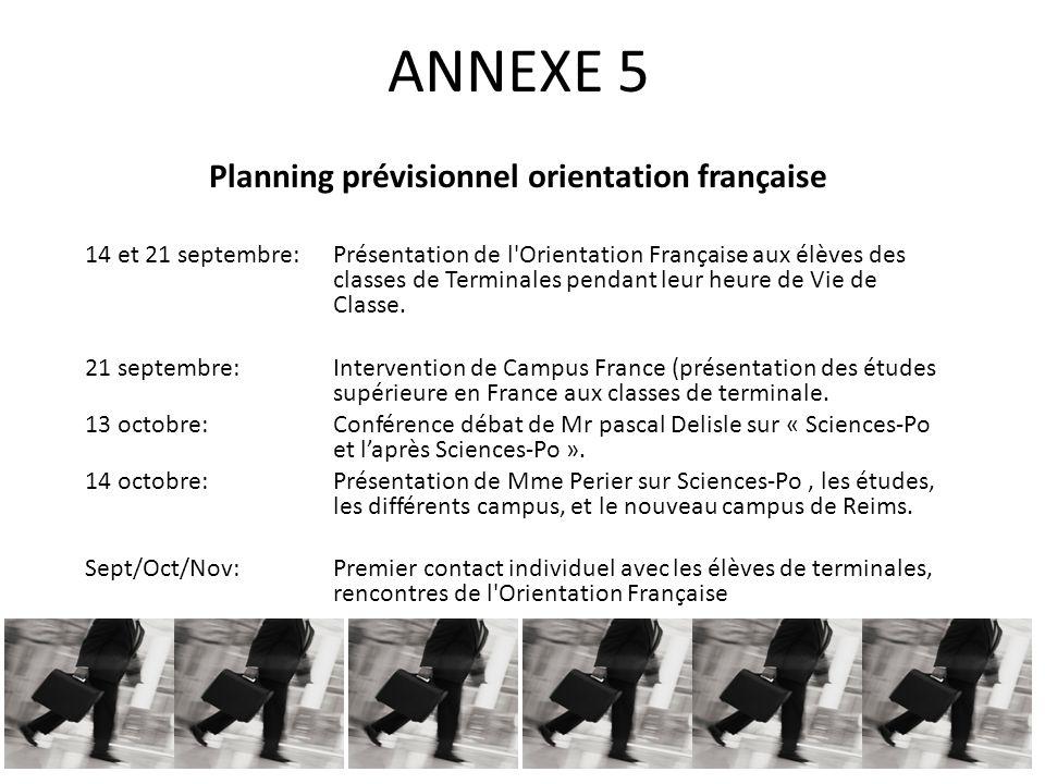 ANNEXE 5 Planning prévisionnel orientation française 14 et 21 septembre: Présentation de l Orientation Française aux élèves des classes de Terminales pendant leur heure de Vie de Classe.