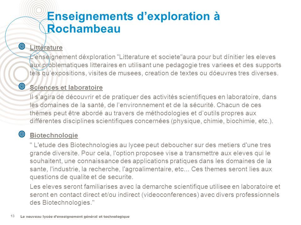 Le nouveau lycée denseignement général et technologique 13 Enseignements dexploration à Rochambeau Littérature L'enseignement déxploration