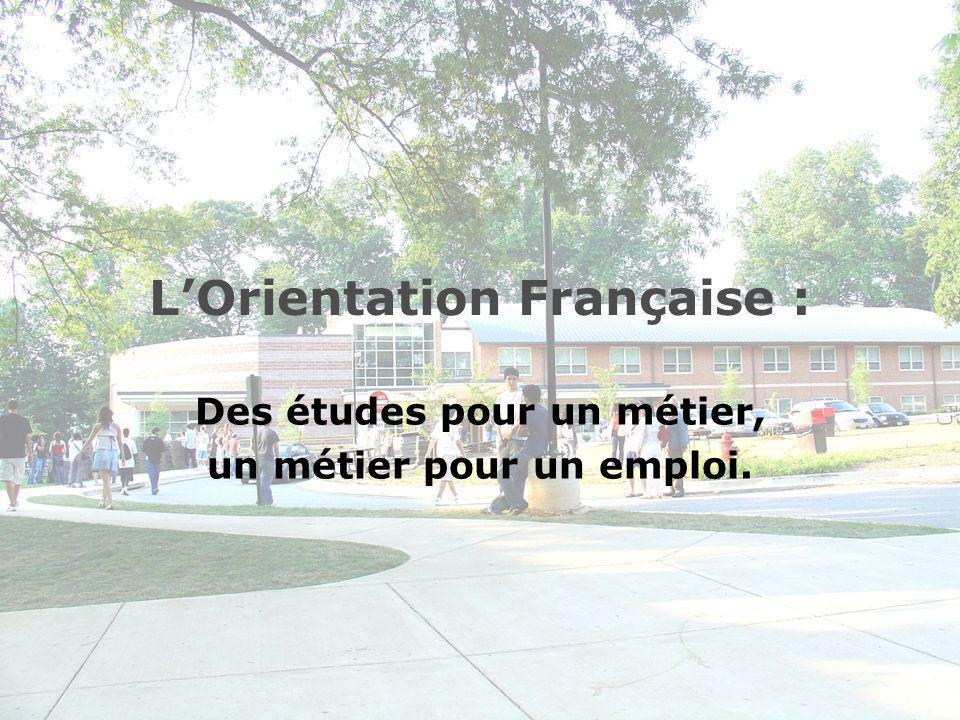 LOrientation Française : Des études pour un métier, un métier pour un emploi.