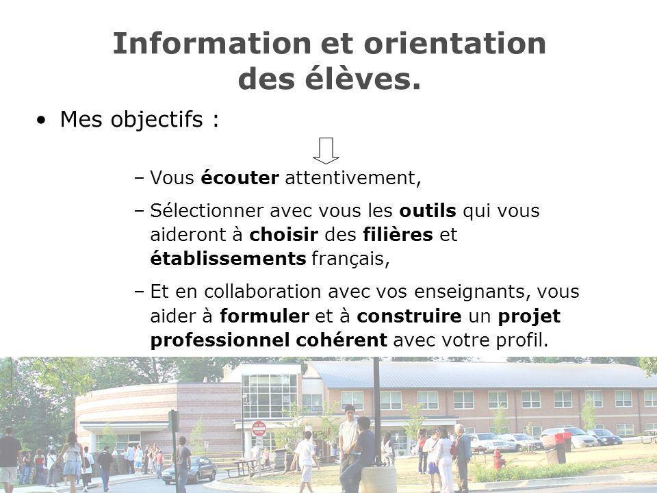 Information et orientation des élèves.