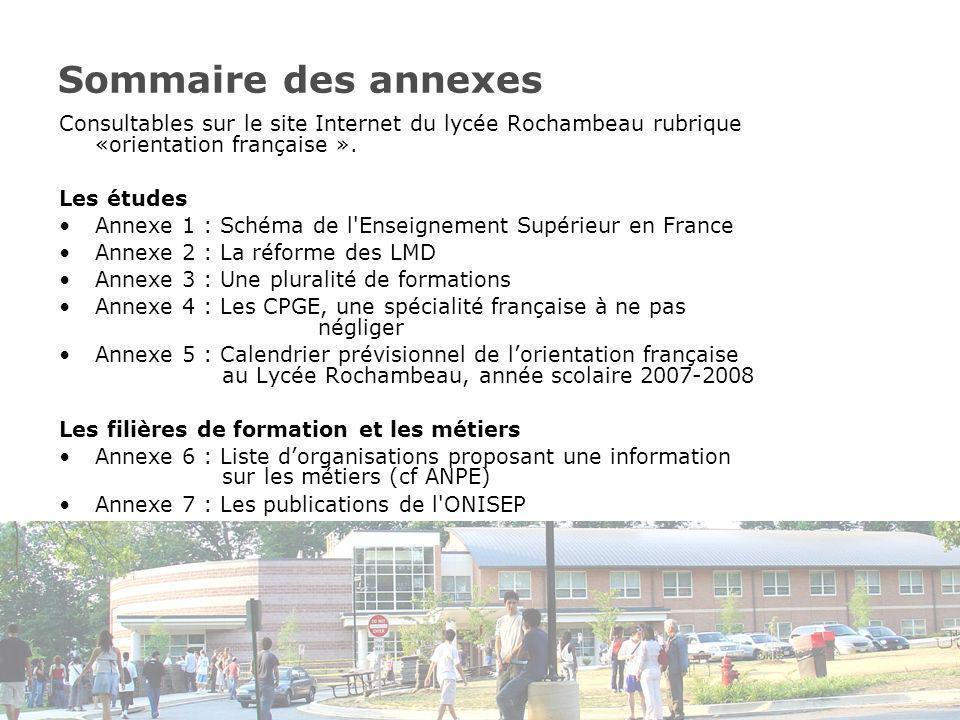 Sommaire des annexes Consultables sur le site Internet du lycée Rochambeau rubrique «orientation française ».