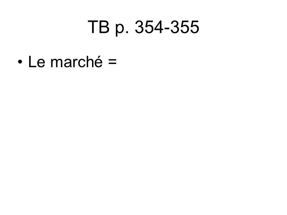 TB p. 354-355 Le marché =