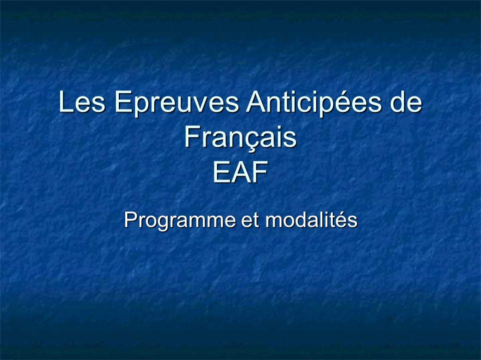 Les Epreuves Anticipées de Français EAF Programme et modalités