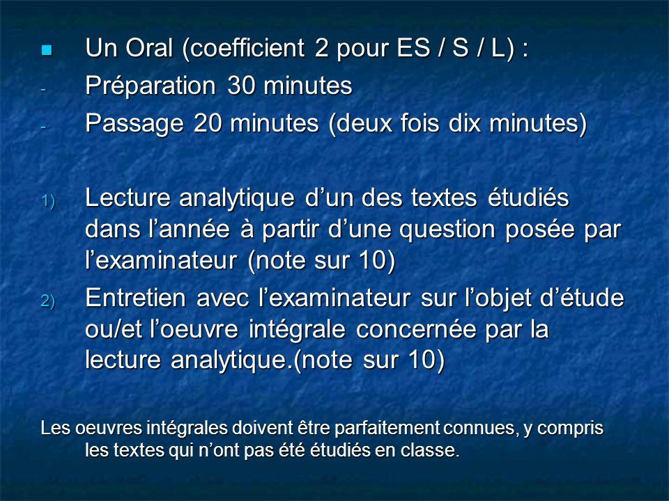 Un Oral (coefficient 2 pour ES / S / L) : Un Oral (coefficient 2 pour ES / S / L) : - Préparation 30 minutes - Passage 20 minutes (deux fois dix minut