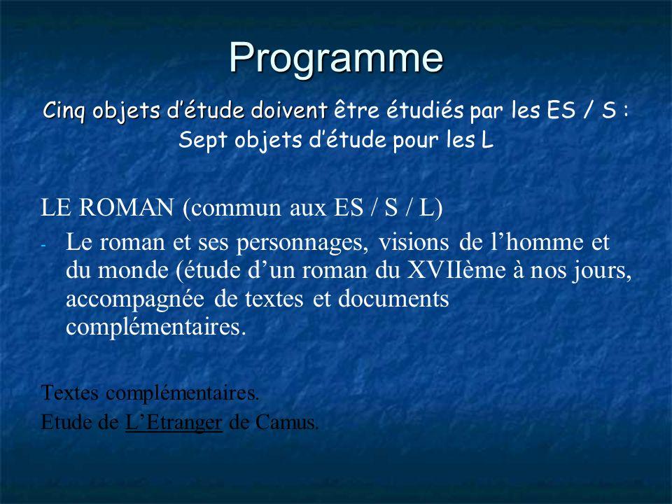Programme Cinq objets détude doivent Cinq objets détude doivent être étudiés par les ES / S : Sept objets détude pour les L LE ROMAN (commun aux ES /