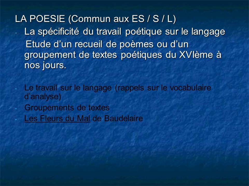 LA POESIE (Commun aux ES / S / L) - La spécificité du travail poétique sur le langage Etude dun recueil de poèmes ou dun groupement de textes poétique