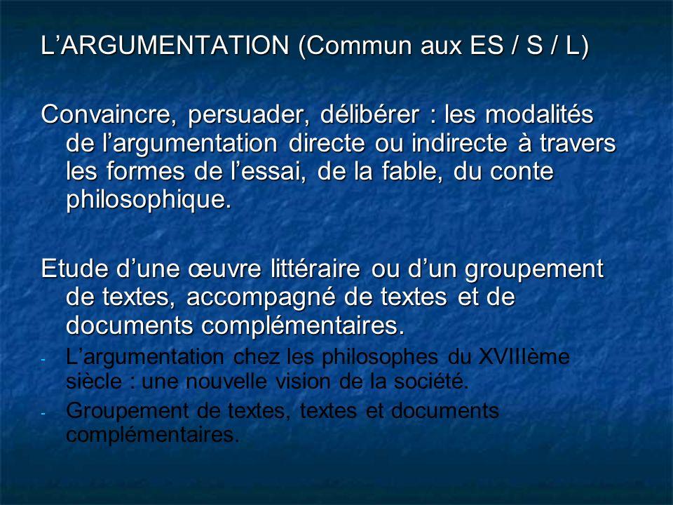 LARGUMENTATION (Commun aux ES / S / L) Convaincre, persuader, délibérer : les modalités de largumentation directe ou indirecte à travers les formes de