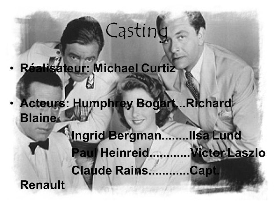 Casting Réalisateur: Michael Curtiz Acteurs: Humphrey Bogart...Richard Blaine Ingrid Bergman........Ilsa Lund Paul Heinreid............Victor Laszlo Claude Rains............Capt.