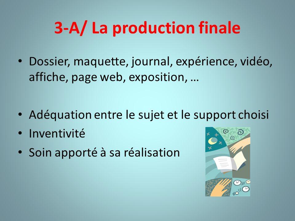 3-A/ La production finale Dossier, maquette, journal, expérience, vidéo, affiche, page web, exposition, … Adéquation entre le sujet et le support choi
