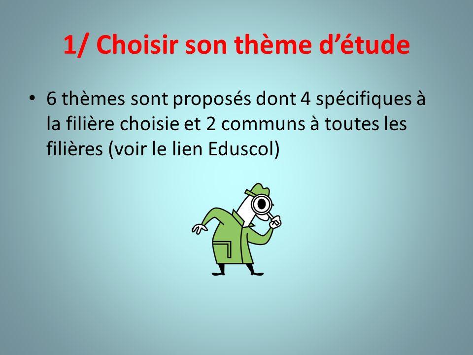 1/ Choisir son thème détude 6 thèmes sont proposés dont 4 spécifiques à la filière choisie et 2 communs à toutes les filières (voir le lien Eduscol)