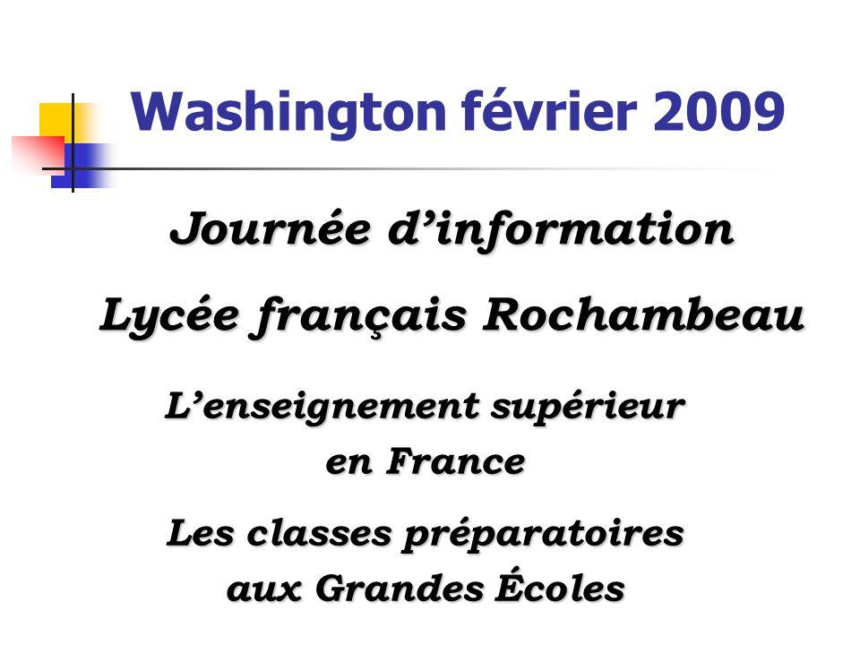 Washington février 2009 Lenseignement supérieur en France Les classes préparatoires aux Grandes Écoles Journée dinformation Lycée français Rochambeau