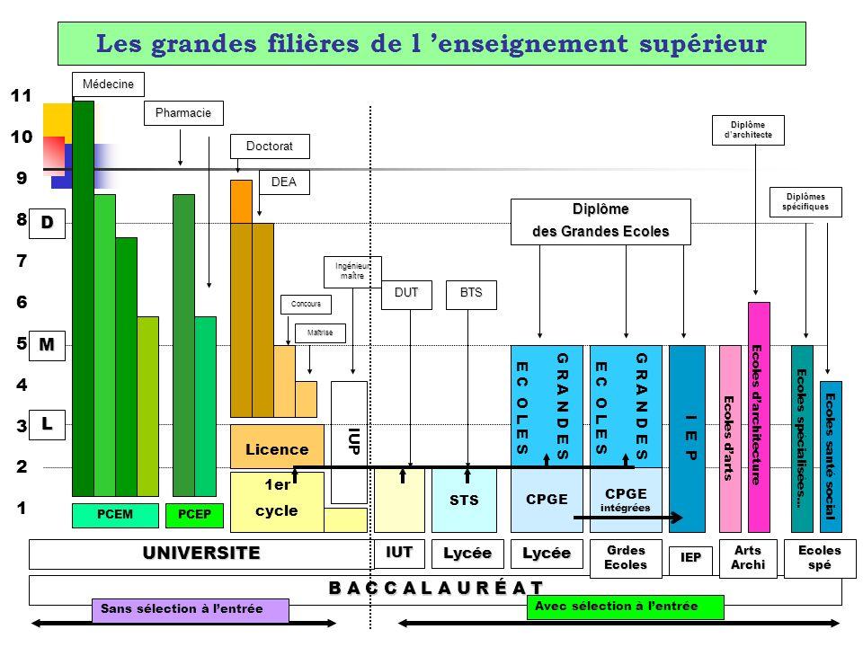 Les grandes filières de l enseignement supérieur B A C C A L A U R É A T 11 10 9 8 7 6 5 4 3 2 1 G R A N D E S E C O L E S 1er cycle Licence PCEM I E P Ecoles darchitecture Ecoles spécialisées...